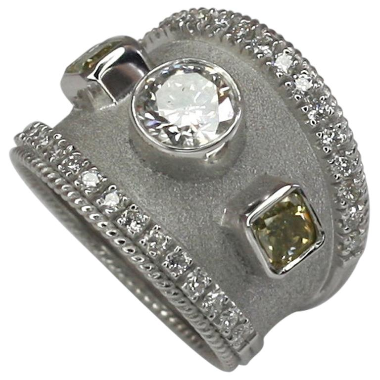 Georgios Collections 18 Karat White Gold Yellow and White Diamond Ring