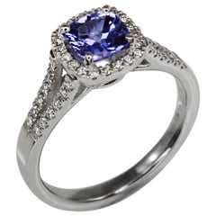 Georgios Collections 18 Karat White Gold Cushion Cut Tanzanite and Diamond Ring