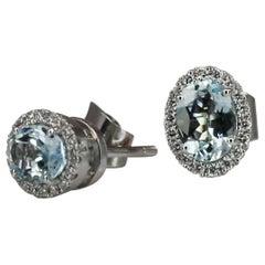 Georgios Collections 18 Karat White Gold Diamond and Aquamarine Stud Earrings