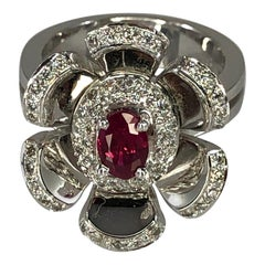 Georgios Collections 18 Karat White Gold Diamond and Ruby Floral Ring