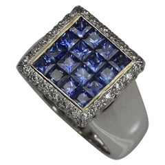 Georgios Collections 18 Karat White Gold Princess Cut Sapphires and Diamond Ring