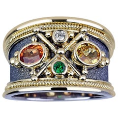 Georgios Collections 18 Karat White Gold Diamond and Sapphire Two-Tone Band Ring