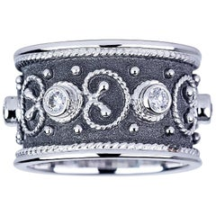 Georgios Collections 18 Karat White Gold Diamond Band Ring with Black Rhodium.
