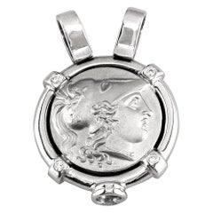Georgios Collections 18 Karat White Gold Diamond Coin Pendant Necklace of Athena