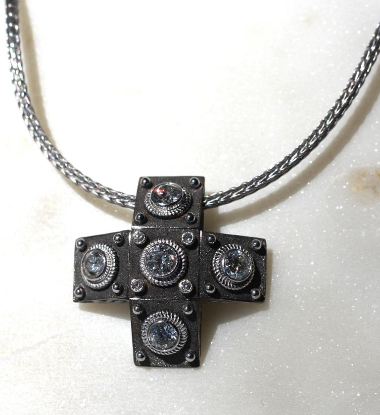 Georgios Collections 18 Karat White Gold Diamond Cross with Rope Necklace For Sale 5