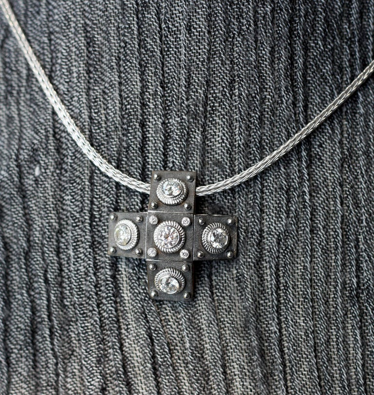 Georgios Collections 18 Karat White Gold Diamond Cross with Rope Necklace For Sale 8