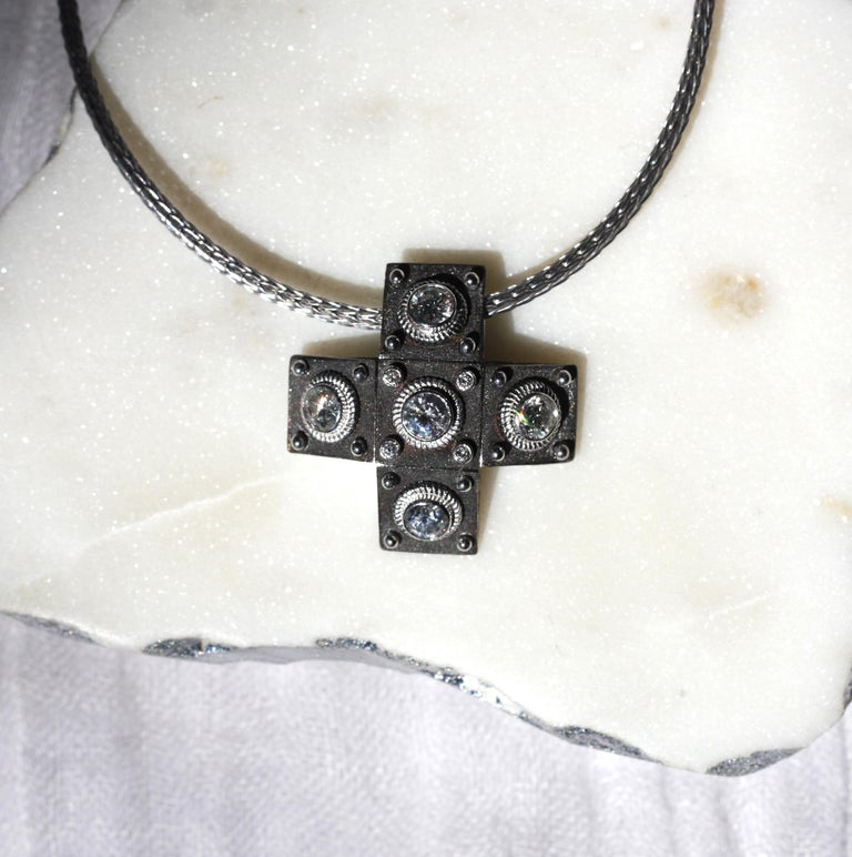 Georgios Collections 18 Karat White Gold Diamond Cross with Rope Necklace For Sale 11