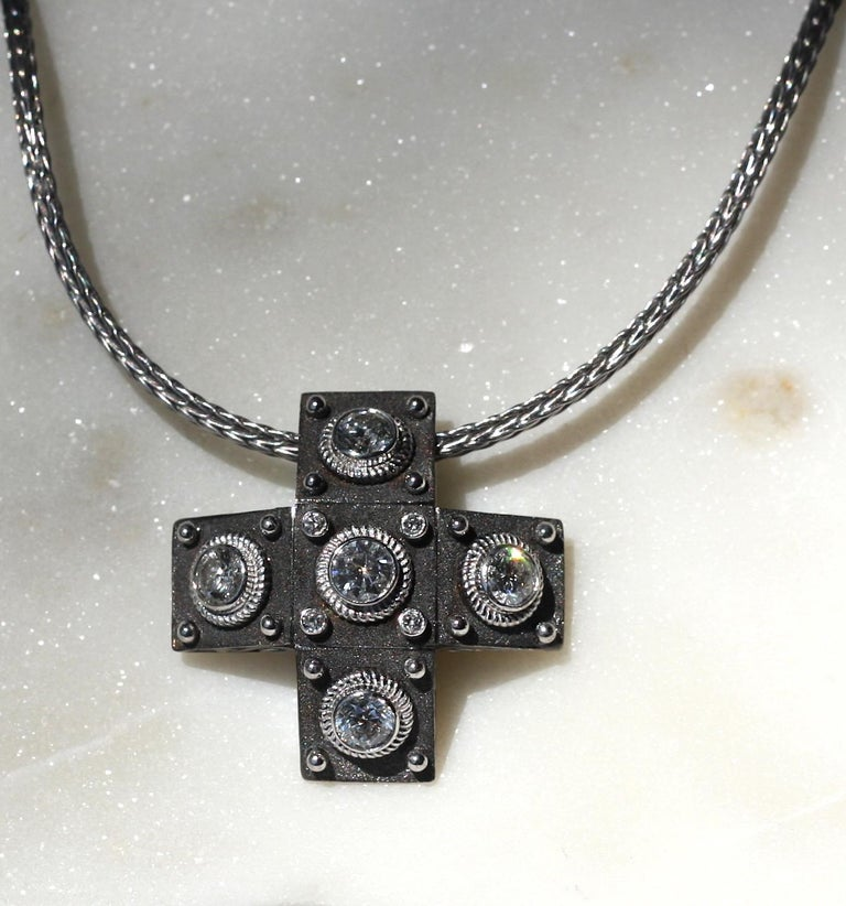 Georgios Collections 18 Karat White Gold Diamond Cross with Rope Necklace For Sale 12