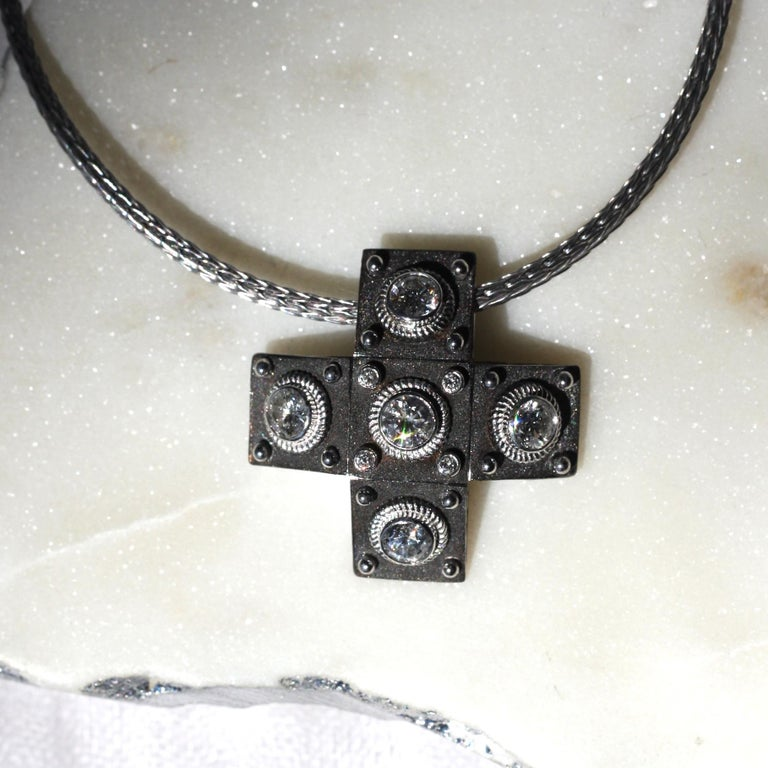 Round Cut Georgios Collections 18 Karat White Gold Diamond Cross with Rope Necklace For Sale