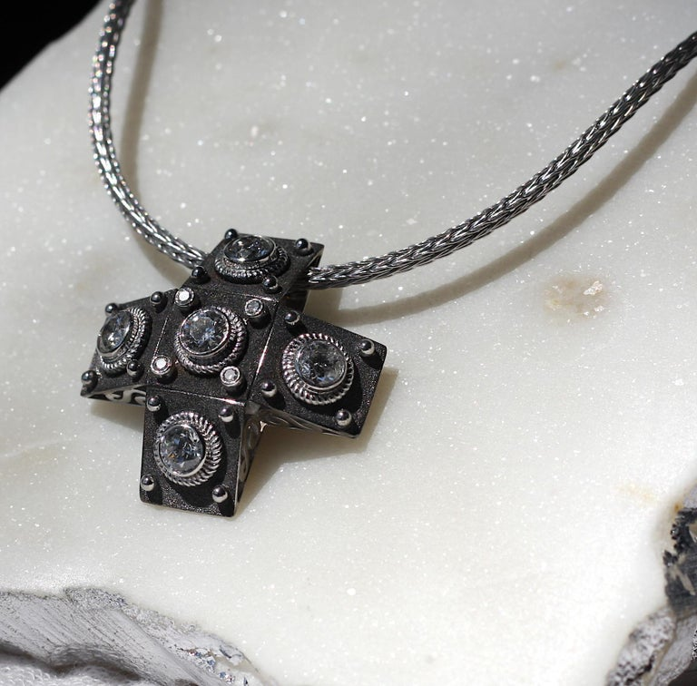 Georgios Collections 18 Karat White Gold Diamond Cross with Rope Necklace For Sale 2