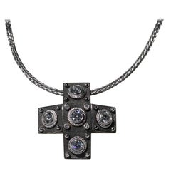 Georgios Collections 18 Karat White Gold Diamond Cross with Rope Necklace