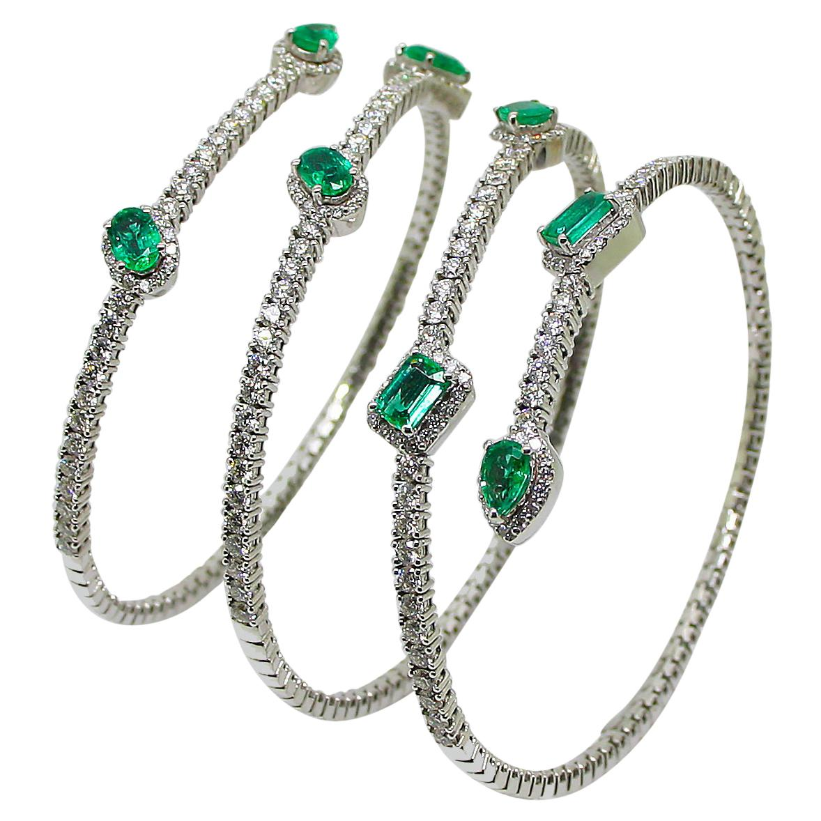 Georgios Collections 18 Karat White Gold Diamond Emerald Wrap Wide Cuff Bracelet