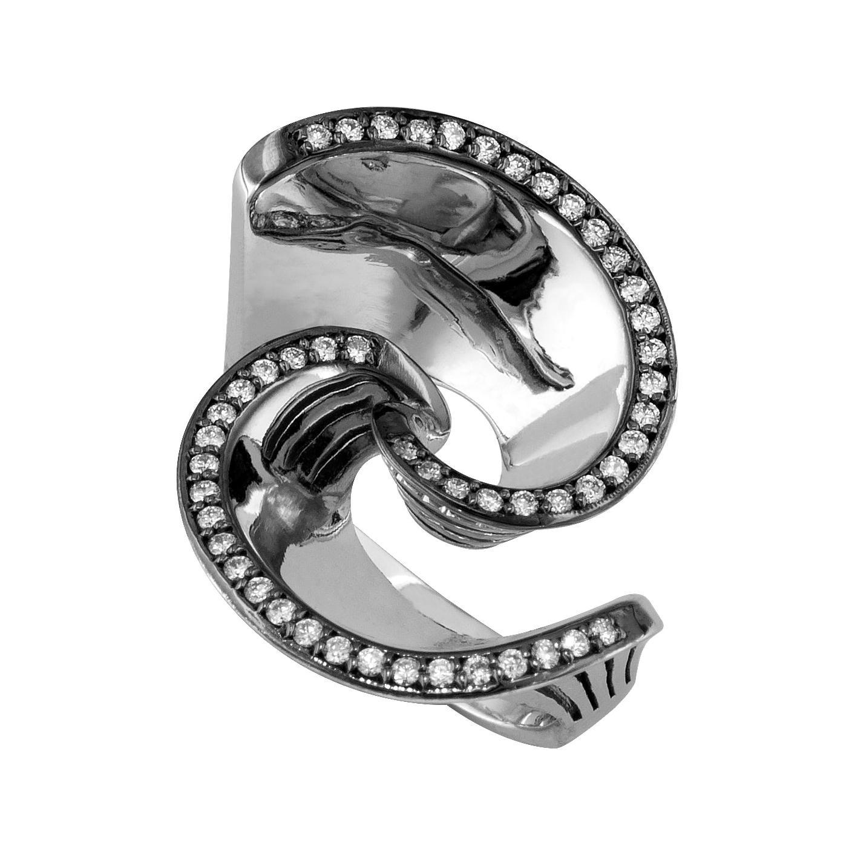 Georgios Collections 18 Karat White Gold Diamond Rhodium Geometric Band Ring