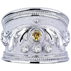 Georgios Collections 18 Karat White Gold Diamond Band Ring with a Yellow Diamond