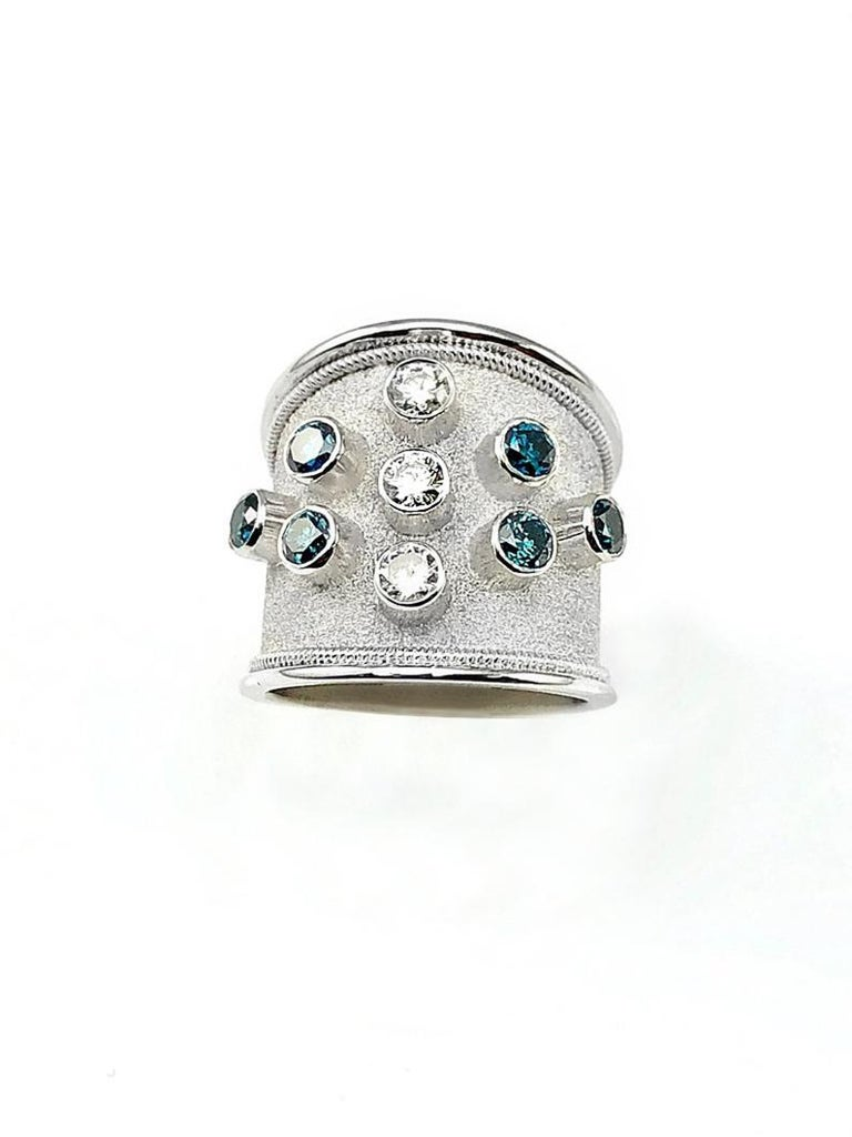 Byzantine Georgios Collections 18 Karat White Gold Blue and White Diamonds Wide Band Ring For Sale