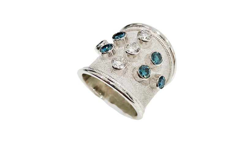 Georgios Collections 18 Karat White Gold Blue and White Diamonds Wide Band Ring For Sale 1