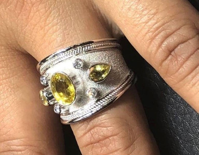 Women's or Men's Georgios Collections 18 Karat White Gold Diamond and Green Sapphires Band Ring For Sale