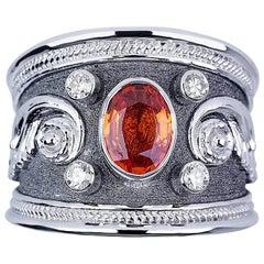Georgios Collections 18 Karat White Gold Diamond Sapphire and Black Rhodium Ring