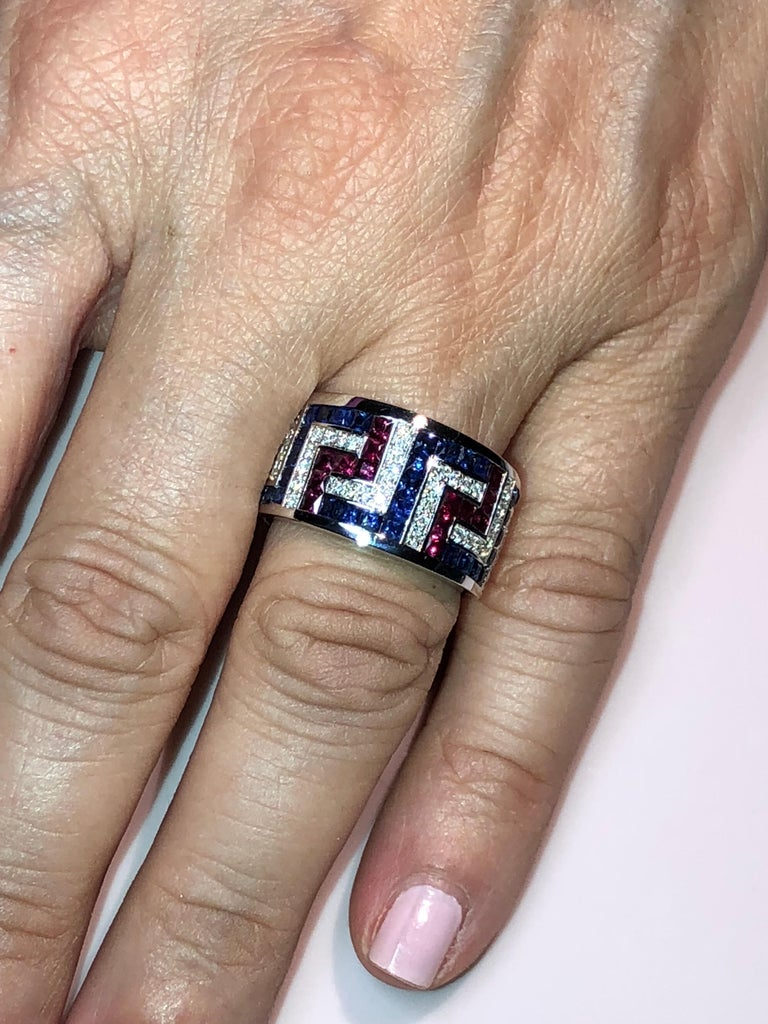 Classical Greek Georgios Collections 18 Karat White Gold Diamond Sapphires and Rubies Greek Ring For Sale