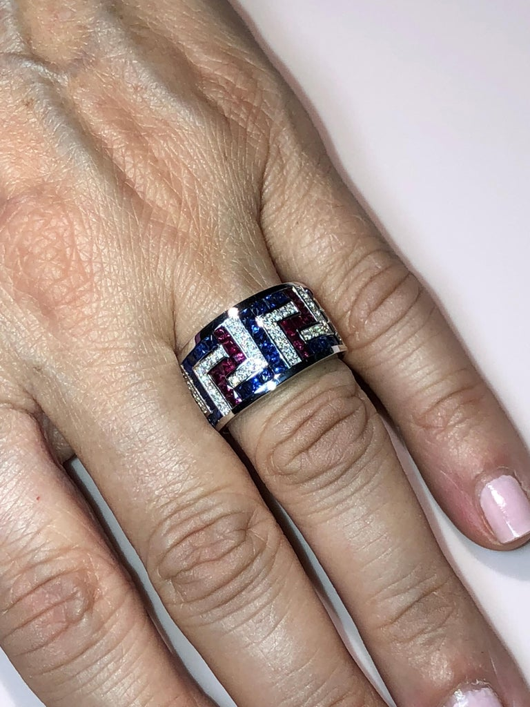 Women's or Men's Georgios Collections 18 Karat White Gold Diamond Sapphires and Rubies Greek Ring For Sale