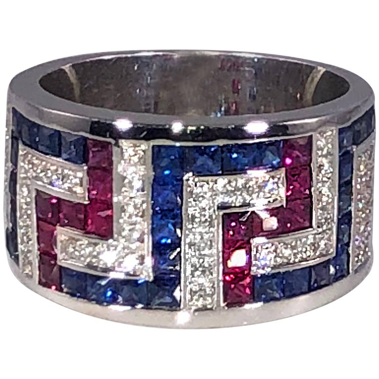 Georgios Collections 18 Karat White Gold Diamond Sapphires and Rubies Greek Ring For Sale