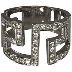 Georgios Collections 18 Karat White Gold Greek Key Designer Ring with Diamonds