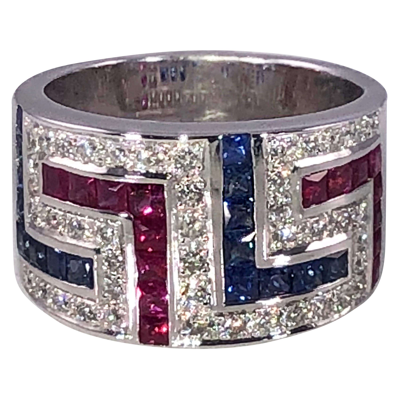 Georgios Collections 18 Karat White Gold Diamond Sapphire Ruby  Greek Key Ring
