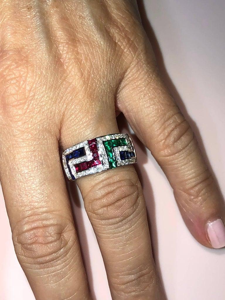 Princess Cut Georgios Collections 18 Karat White Gold Diamond Sapphire Ruby Emerald Key Ring For Sale