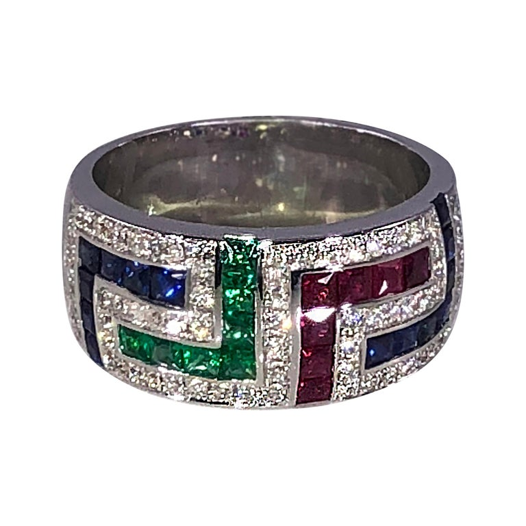 Georgios Collections 18 Karat White Gold Diamond Sapphire Ruby Emerald Key Ring For Sale