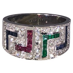 Georgios Collections 18 Karat White Gold Diamond Sapphire Ruby Emerald Key Ring