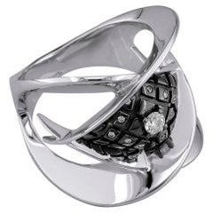 Georgios Collections 18 Karat White Gold Diamond Two-Tone Black Rhodium Ring