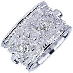 Georgios Collections 18 Karat White Gold Diamond Unisex Band Ring