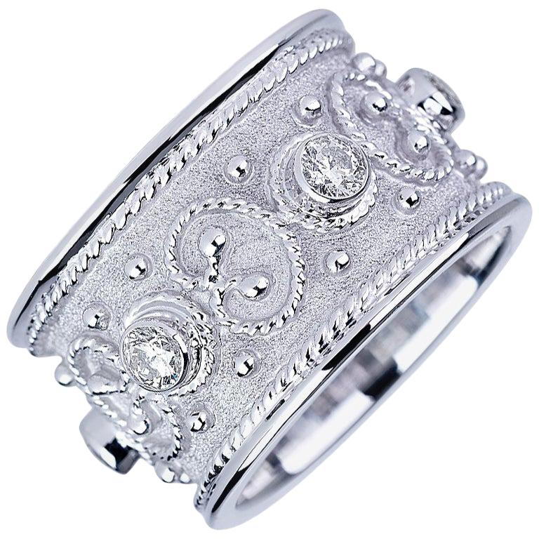 Georgios Collections 18 Karat White Gold Diamond Unisex Wide Band Ring