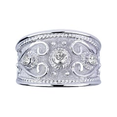 Georgios Collections 18 Karat White Gold Diamond Wide Band Ring With Granulation