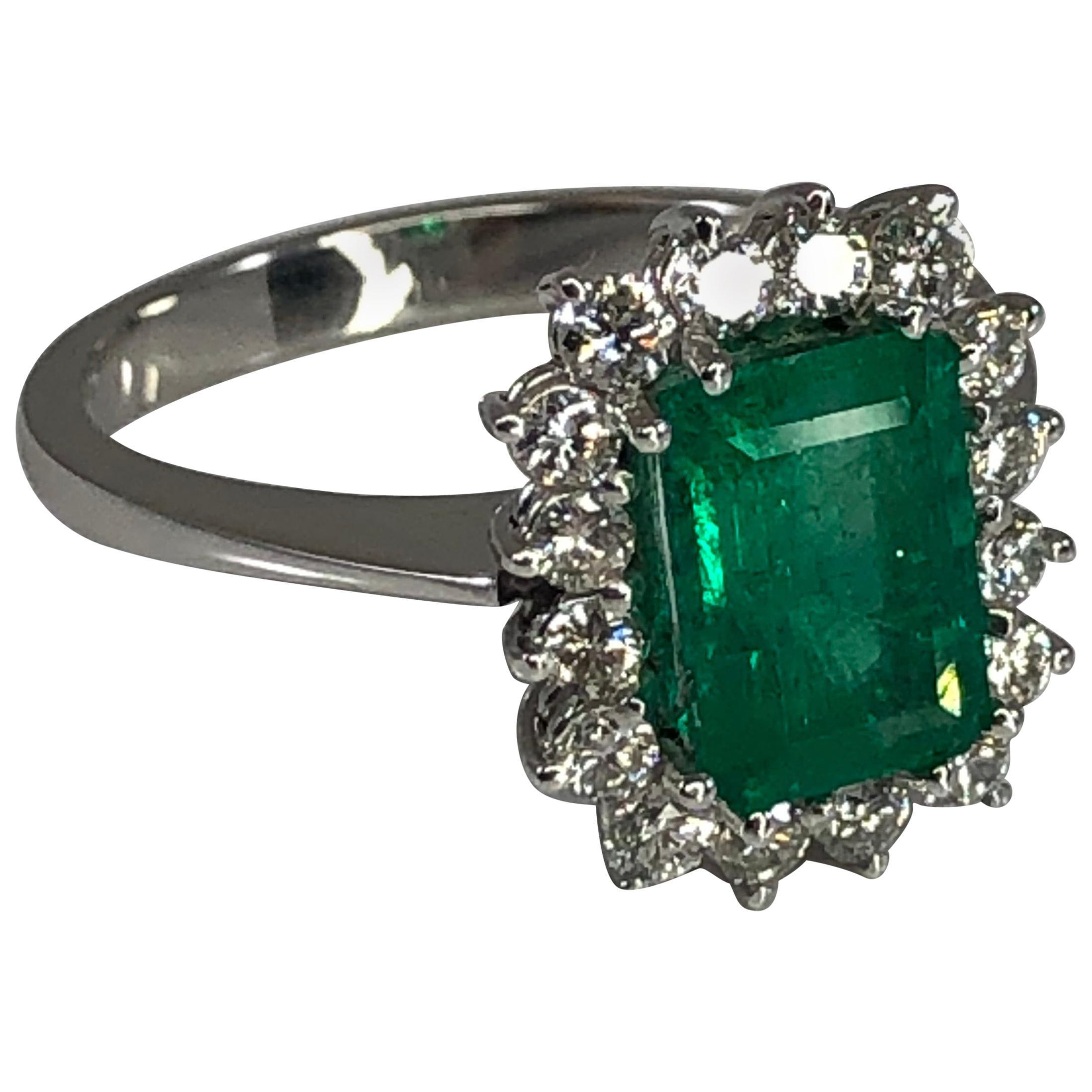 Georgios Collections 18 Karat White Gold Emerald Cut Emerald and Diamond Ring