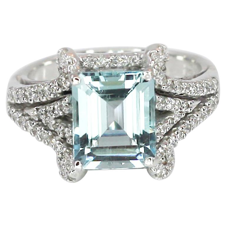 Georgios Collections 18 Karat White Gold Emerald Cut Aquamarine and Diamond Ring