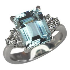 Georgios Collections 18 Karat White Gold Emerald Cut Aquamarine and Diamond Ring