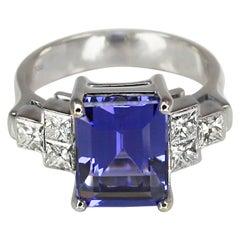 Georgios Collections 18 Karat White Gold Emerald Cut Tanzanite and Diamond Ring