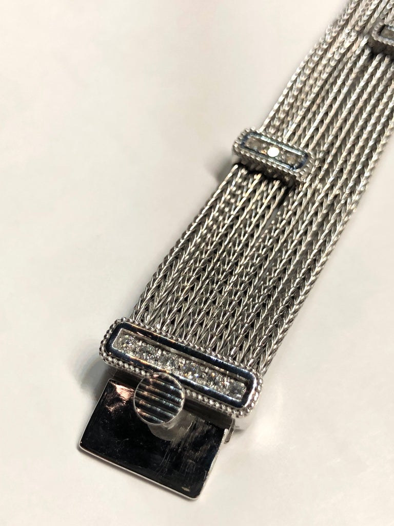 Georgios Collections 18 Karat White Gold Knitted Bracelet with Diamonds For Sale 4