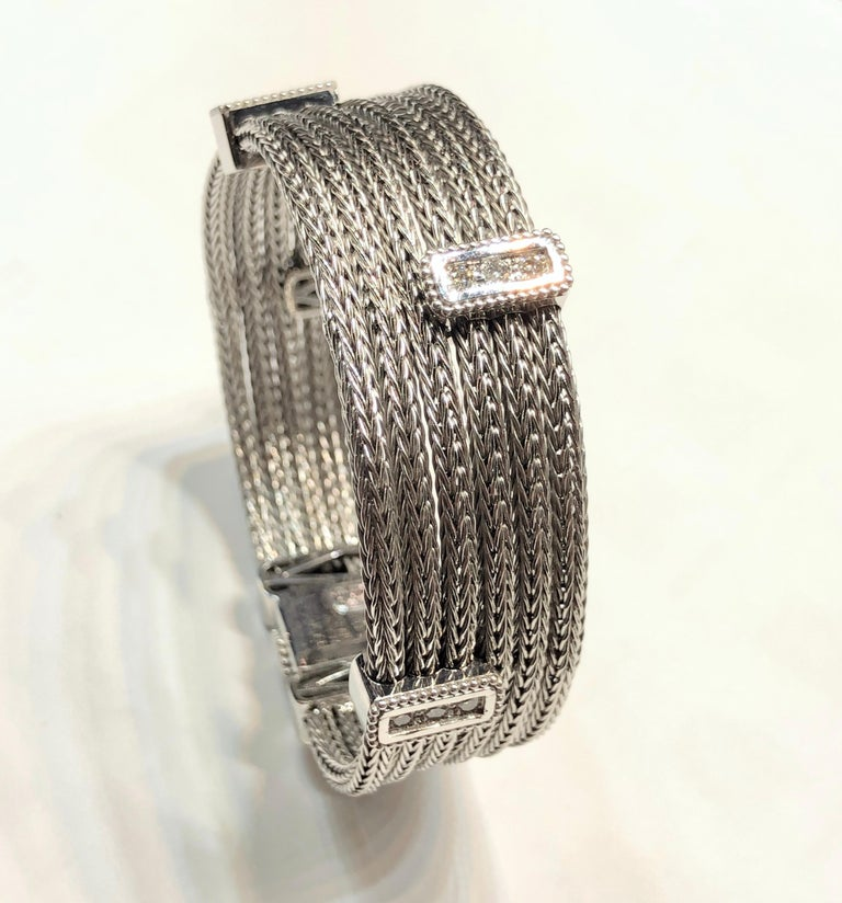 Georgios Collections 18 Karat White Gold Knitted Bracelet with Diamonds For Sale 5