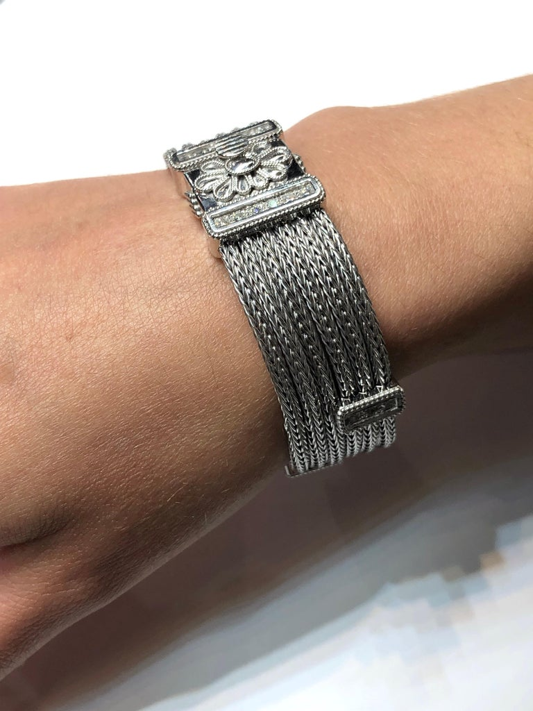 Georgios Collections 18 Karat White Gold Knitted Bracelet with Diamonds For Sale 7