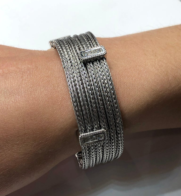 Georgios Collections 18 Karat White Gold Knitted Bracelet with Diamonds For Sale 8