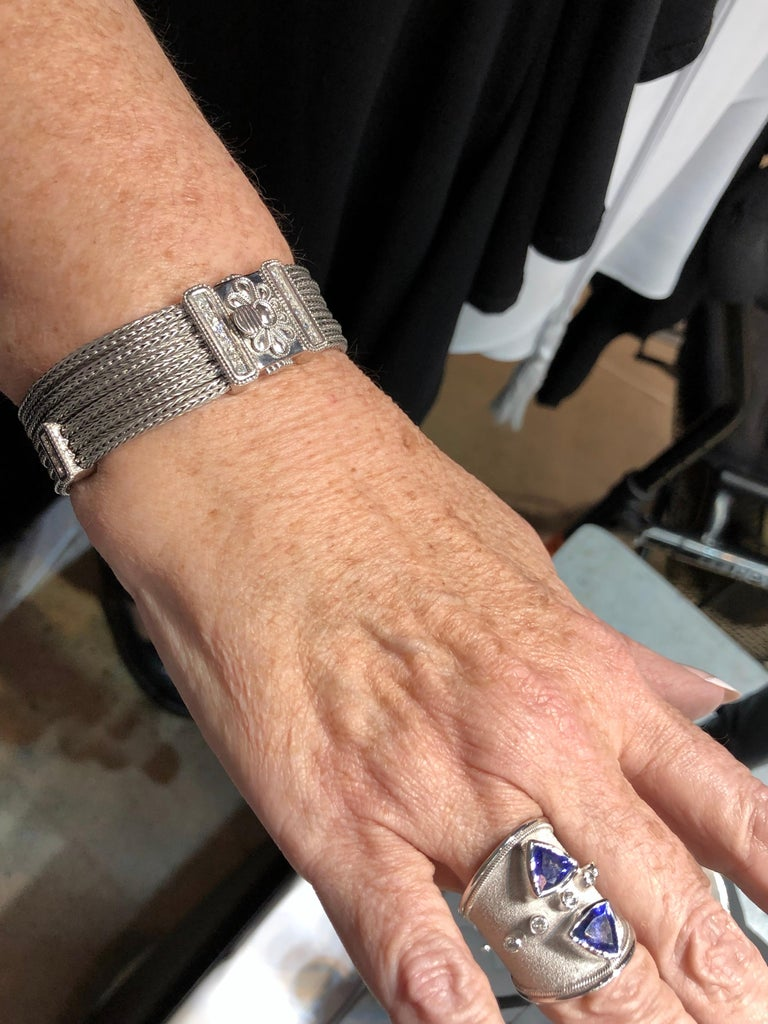 Georgios Collections 18 Karat White Gold Knitted Bracelet with Diamonds For Sale 9