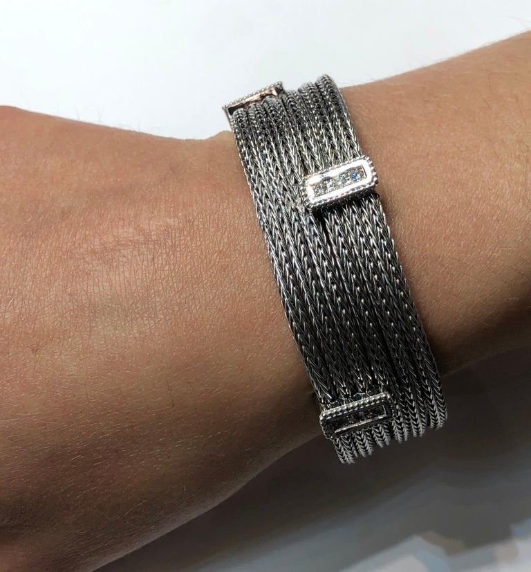 Georgios Collections 18 Karat White Gold Knitted Bracelet with Diamonds For Sale 14