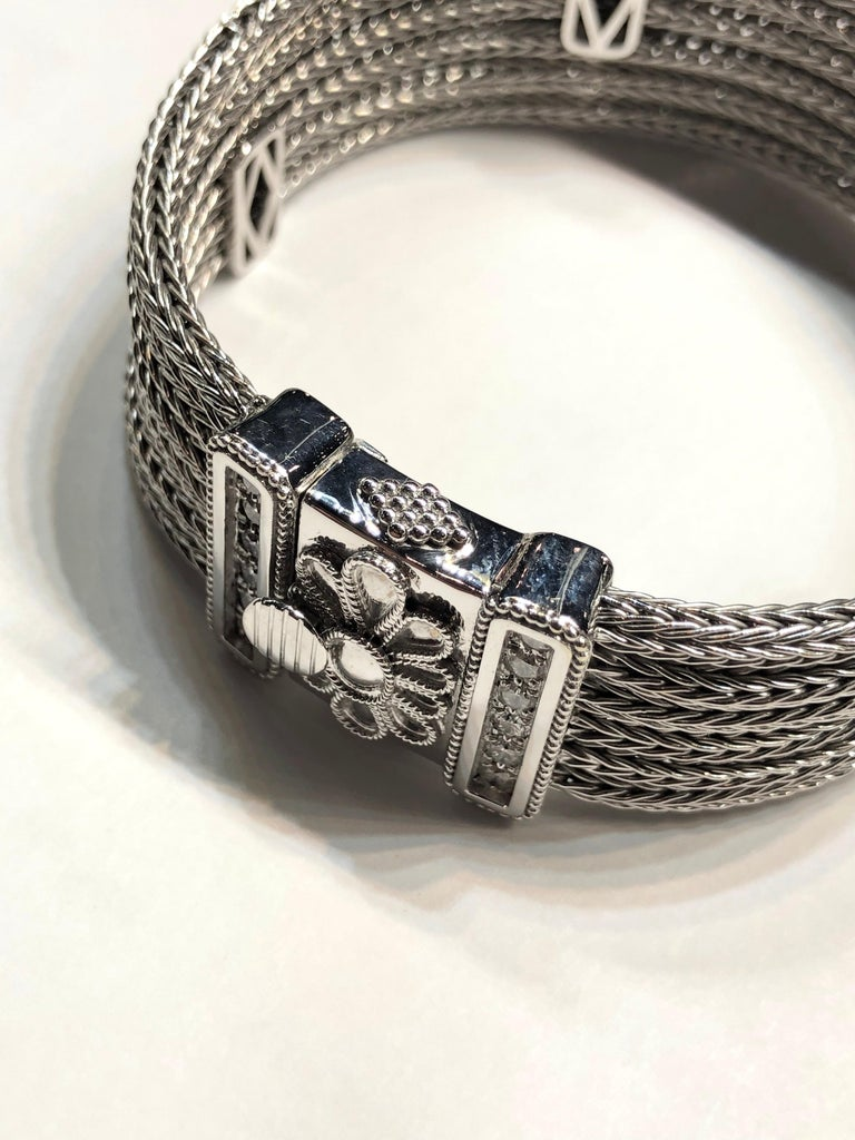 Contemporary Georgios Collections 18 Karat White Gold Knitted Bracelet with Diamonds For Sale