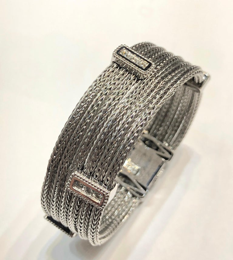 Round Cut Georgios Collections 18 Karat White Gold Knitted Bracelet with Diamonds For Sale