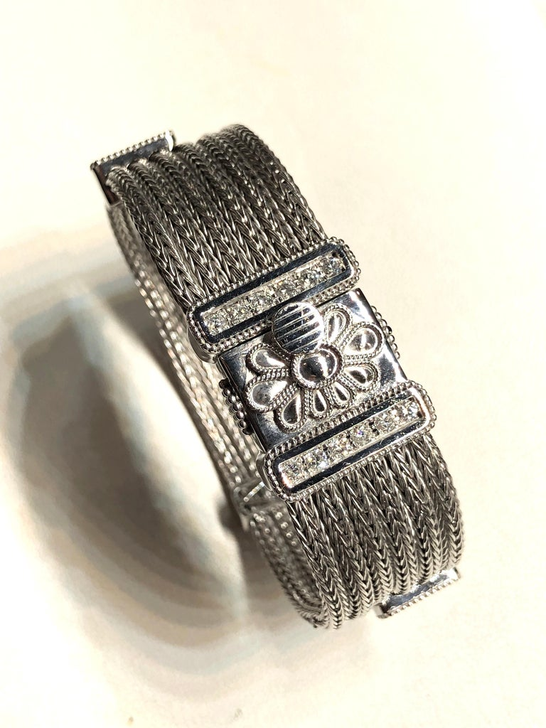 Georgios Collections 18 Karat White Gold Knitted Bracelet with Diamonds In New Condition For Sale In Astoria, NY