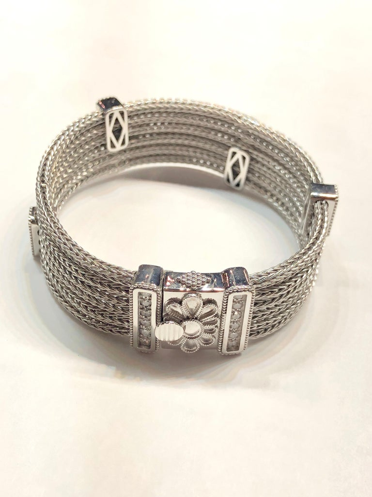 Women's Georgios Collections 18 Karat White Gold Knitted Bracelet with Diamonds For Sale