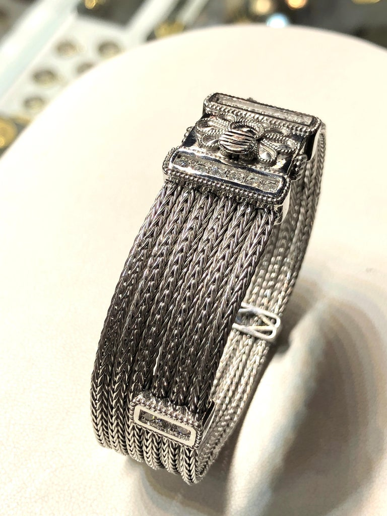 Georgios Collections 18 Karat White Gold Knitted Bracelet with Diamonds For Sale 3