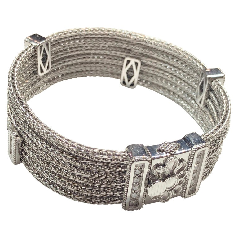 Georgios Collections 18 Karat White Gold Knitted Bracelet with Diamonds For Sale